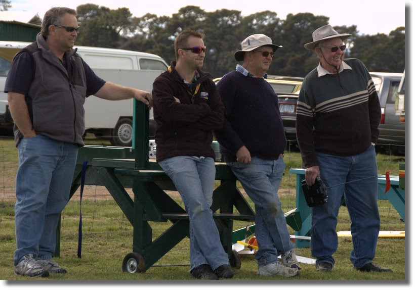 Watching the action were (L-R) Michael Madden, Andrew Dewater, Terry Pearson and Merv Cameron.